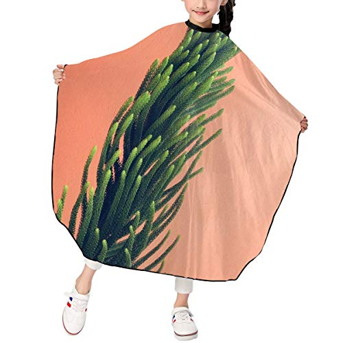 Greatmindo Professional Hair Salon Cape with Snap Closure Kids Green and Brown Leaf Plant 3947 in Haircut Cape Apron for Styling Hair Cut Hairdresser Barbershop Supplies