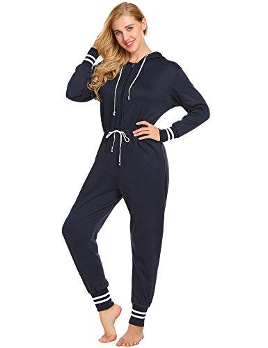 Ekouaer Womens One Piece Pajamas Onesie Zip Front Hooded Jumpsuit, Navy Blue, Large
