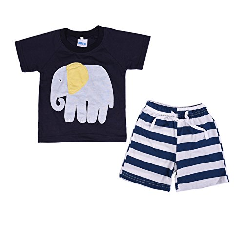 Price comparison product image AJia Kids 2 Piece Short Sleeve Shirt and Shorts for 1 to 5 Years Olds Little Boy (5 Years, Dark Blue)