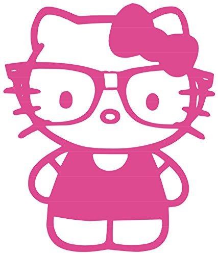 Nerdy Kitty Vinyl Sticker Decal (Hottest Pink, 3.4