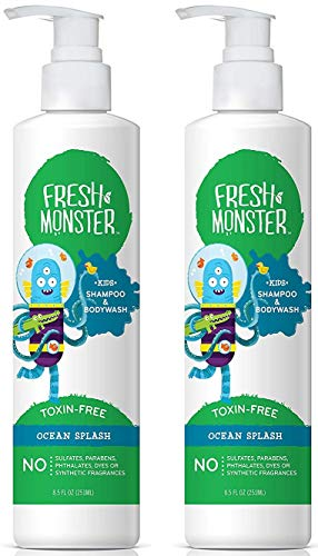 - Fresh Monster Toxin-free Hypoallergenic 2-in-1 Kids Shampoo & Body Wash, Ocean Splash, 2Count, 8.5 oz