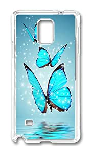 Samsung Note 4 Case,VUTTOO Stylish Blue Butterfly Water Reflection Hard Case For Samsung Galaxy Note 4 / N9100 / Note4 - PC Transparent