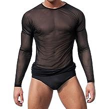 Winday Men's Sexy Underwear T-shirt Long Sleeve Mesh Top Undershirt Nightwear