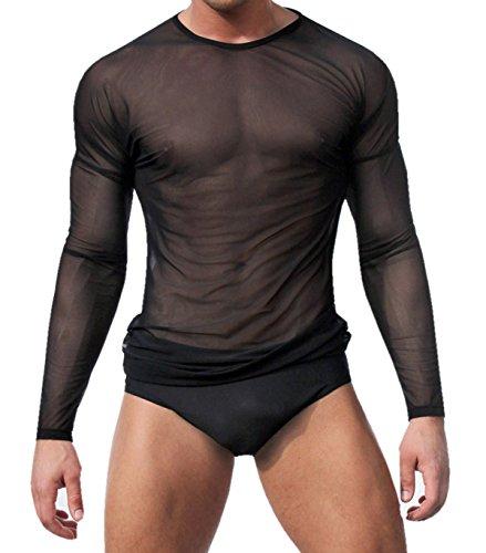 WINDAY Men's Sexy Long Sleeve Mesh Top