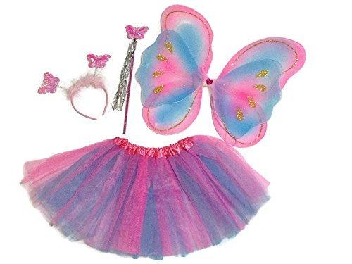 Rush Dance Pink Turquoise Ballerina Princess Fairy- Wings, Wand, Headband & Tutu (One Size, Pink & (Winter Ballerina Costume)