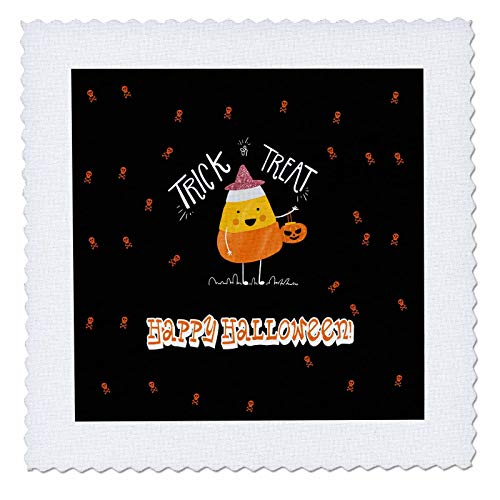 3dRose Beverly Turner Halloween Design - Trick or Treat, Happy Halloween, Candy Corn with Hat and Pumpkin Bag - 6x6 inch Quilt Square (qs_300621_2) -