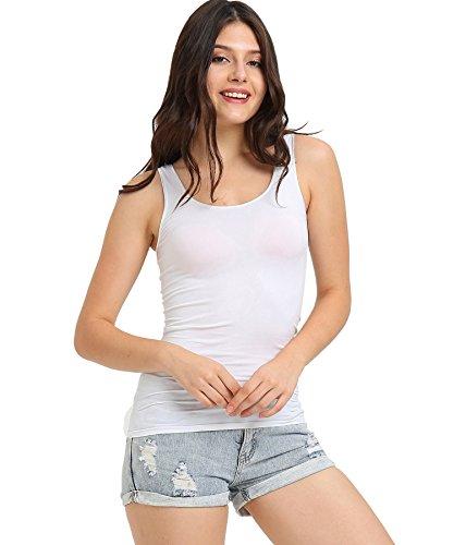 SATINATO Women's Seamless Stretchy Soft Camisole (White Tank Top, XL) (Underwear Cami)