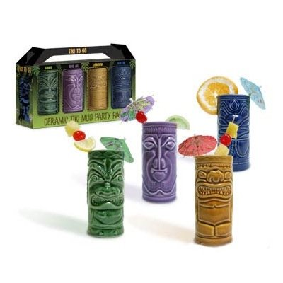 4 Tiki Tumblers Ceramic Hawaiian Luau Party Mugs Glasses Tiki Punch