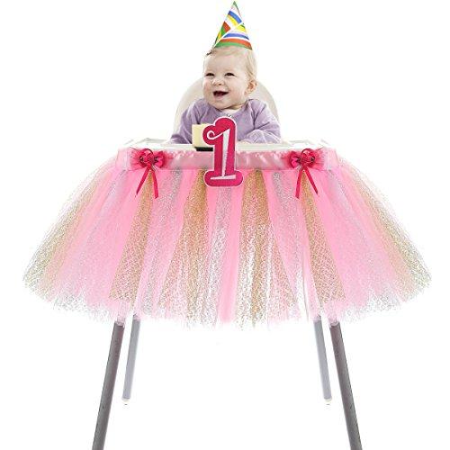 HB HBB MAGIC High Chair Skirt 1st Birthday Baby Girls Tutu High Chair by HB HBB MAGIC