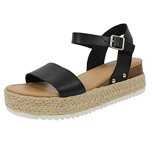 (Womens Casual Espadrilles Sandal Trim Rubber Sole Flatform Studded Wedge Buckle Open Toe Ankle Strap Sandals (US:7.5, Black))
