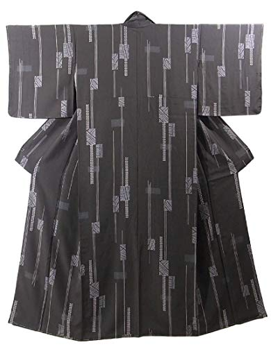 天文学スタイル効果的リサイクル 着物 正絹 袷 小紋 スタイリッシュな抽象模様 裄64cm 身丈160cm
