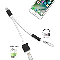 3.5mm Headphone Adapter, 2 in 1 Lightning Cable 3.5mm Headphone Jack Adapter Fast Charging Lightning Adapter Stereo Jack Cord Cable for iPhone 7, iPhone 7 Plus(Lightning- Black)