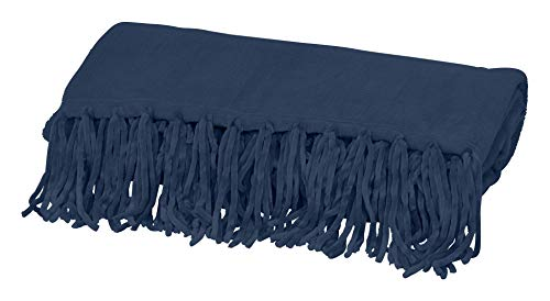 - Style Basics Chenille Fringe Sofa Throw - Soft Warm Flannel Plush - for Couch and Sofa