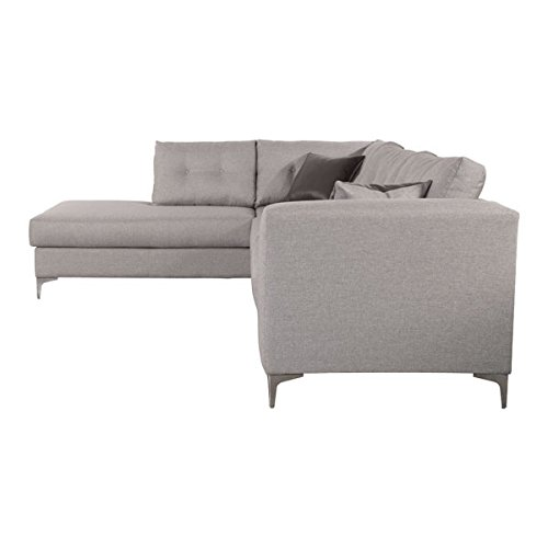 Stylish Modern Left Hand Sectional in Smoke Grey Fabric w/Reversible Toss Pillow