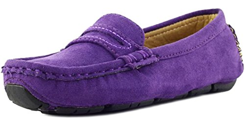 Purple Suede Kids Shoes - PPXID Girl's Boy's Suede Slip-on Loafers Shoes(Toddler/Little Kid/Big Kid)-Purple 4 US Size