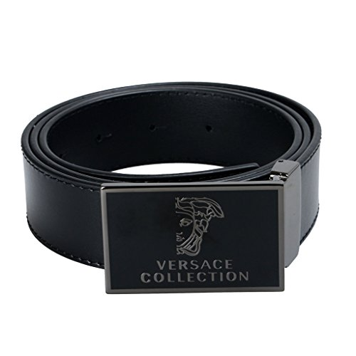 Versace Collection Men's Black Leather Buckle Decorated Belt US 30 Versace Sz - Versace Bag Men