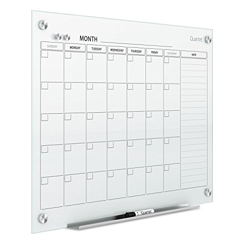 Quartet Infinity Magnetic Glass Calendar Board, 36 x 24 by Quartet