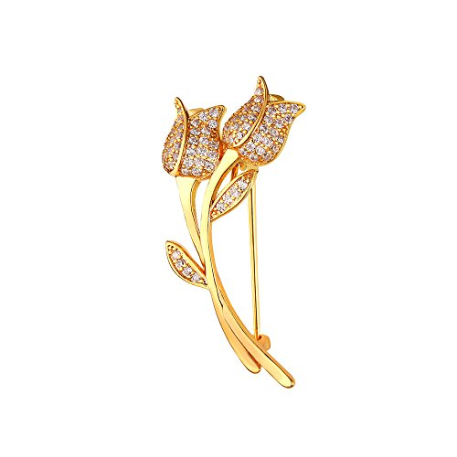Brooches for Women Suit Accessories 18K Gold Plated Cubic Zirconia Inlaid Fashion Rose Flower Corsage Lapel (18k Rose Brooch)