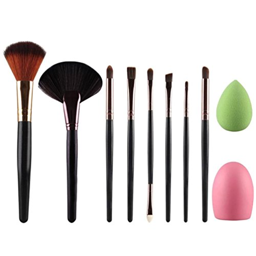 New Arrival 10pcs Makeup Brush Makeup Sponge Makeup Brush Cleaner Foundation Brush Cosmetic Set