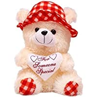 LVS TOYS Stuffed Soft PIush Toy Love Teddy Bear with Red Cap (30 cm)