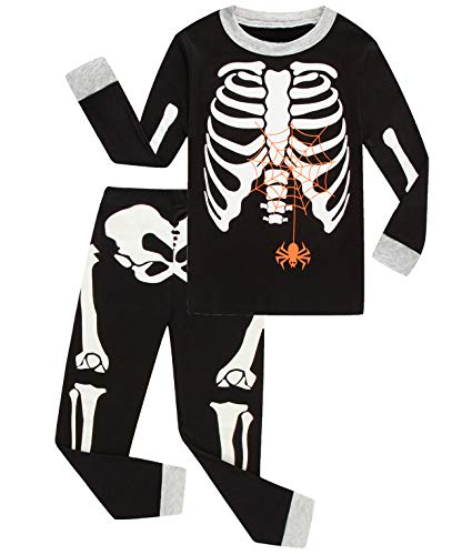Babyroom Boys Cotton 2 Piece Halloween Skeleton Glow in thedark Costumes Toddler Pjs 3T -
