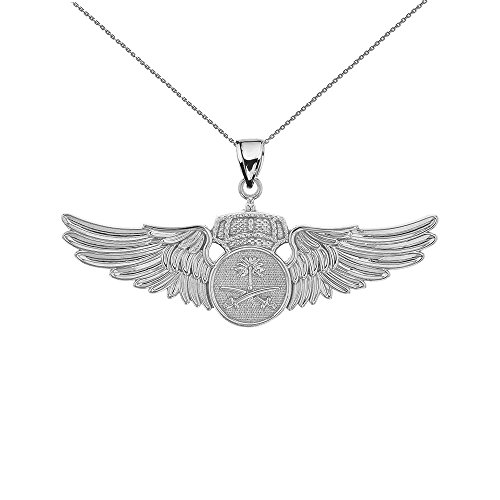 Sterling Silver Royal Saudi Arabia Air Force Wings Insignia Pendant Necklace, 16