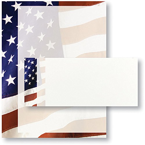 Old Glory Patriotic Flag Invitation or Stationery Set of 25