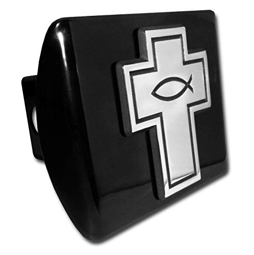 (Elektroplate Cross with Christian Fish Lord God Jesus Christ Religion Ichthus Symbol Black with Chrome Cross Emblem Religous Metal Hitch Cover Fits 2 Inch Auto Car Truck Receiver)