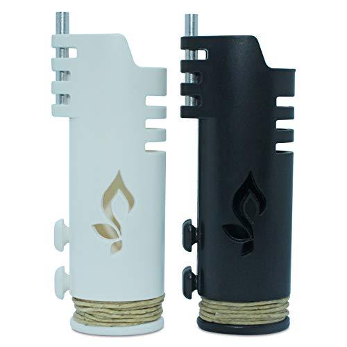 Hemplights Hemp Wick Lighter 2 Pack Wrapper, Includes 8FT Hemp Wick USA (Black/White)