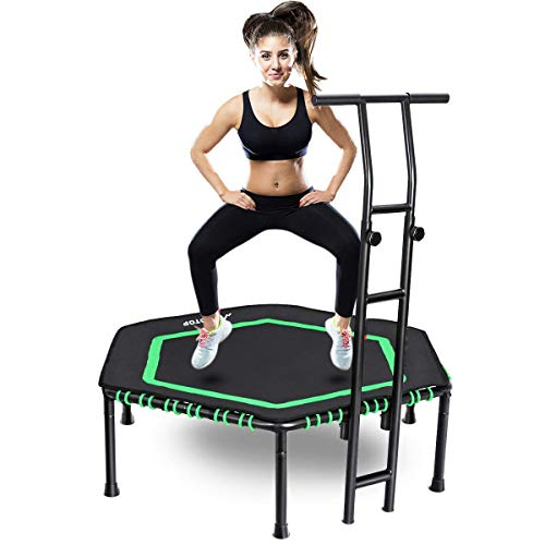 (MOVTOTOP Indoor Trampoline with Adjustable Handrail Bar, 48 Inch rebounder for Kids Adults, Folding Jump Workout Trainer with Overed Bungee Rope System for Cardio Exercise - Max Limit 264 lbs)
