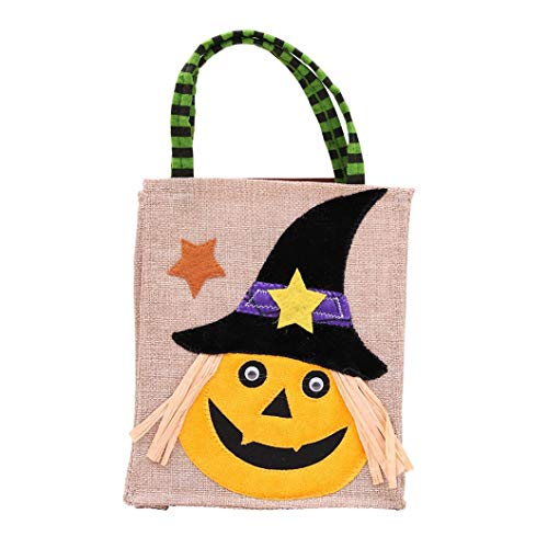 Halloween Bag Gift Cartoon pumpkin witch gift bag linen candy bag pumpkin