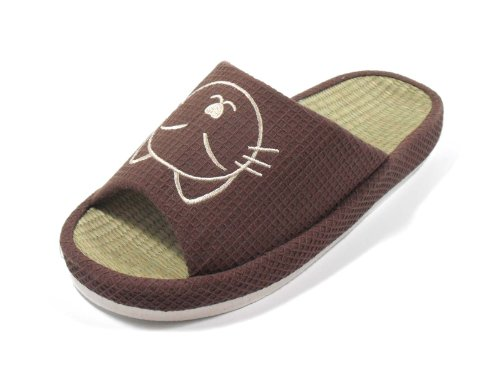 16T-Tatami Arch Footbed Thick Sole House Slippers with Cat (S(5-6)/35-36 S EU, BROWN) (Print Footbed)