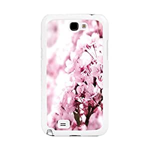 Hybrid High Impact Flower Pattern Design Cover Case for Samsung Galaxy Note 2 N7100 Pretty Floral Print Back Phone Case Skin (pink peach flowers)