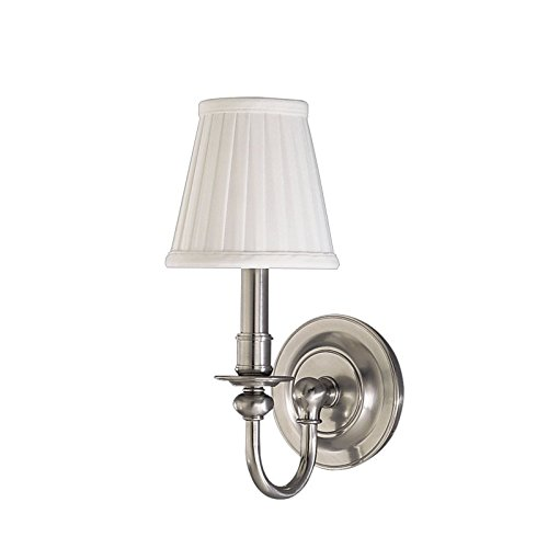 Beekman 1-Light Wall Sconce - Satin Nickel Finish with Off White Faux Silk Shade - Nickel Newport 1 Light