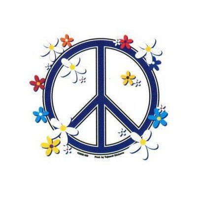 Daisies Peace Sign - Sticker / Decal - Hippie wall decor