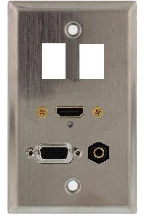 Hd15 Wall Plate - Stainless Steel Wall Plate with HDMI, VGA (HD15) and 3.5mm Connectors Plus Two Keystone Ports; 75-747