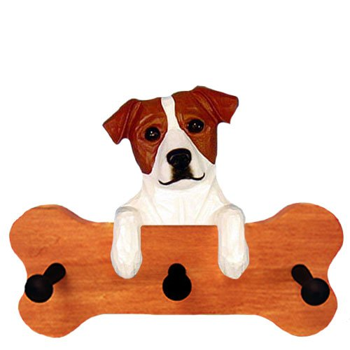 Parson Russell Terrier Figurine (BROWN and WHITE Parson Russell Terrier Bone Hang Up MAPLE FINISH)