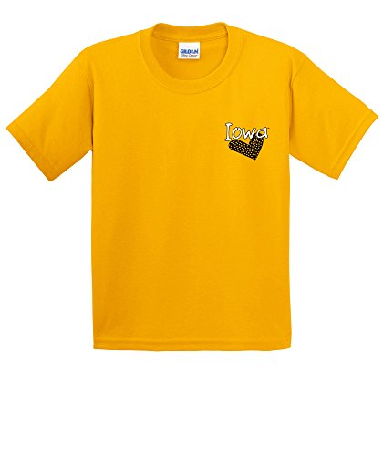 NCAA Iowa Hawkeyes Girls Patterned Heart Short Sleeve Cotton T-Shirt, Youth Medium,Gold