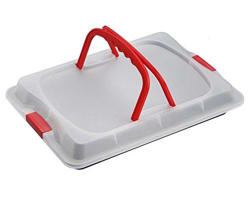Dr. Oetker Backblech 3in1 mit Transporthaube, Ofenblech zum Backen, Aufbewahren & Transportieren, als Pizza-, Auflauf- & Kuchenblech, Maße: 42 x 29 cm 3
