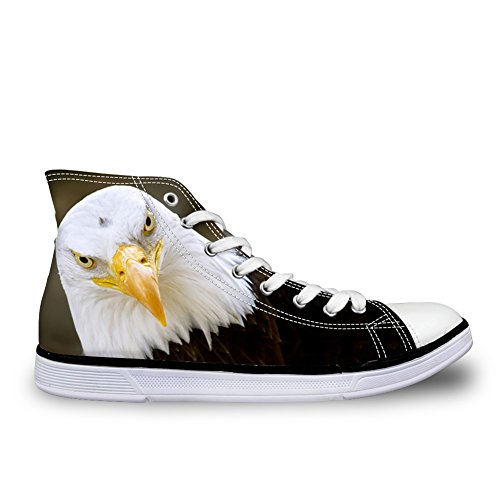 HUGS IDEA Eagle Bird Printed Casual High Top Flat Canvas Shoes Fashion Men Lace-up Fashion Sneakers US7 ZuSrKnF