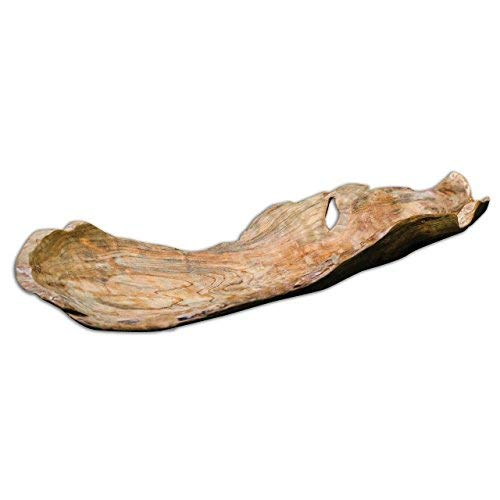 Intelligent Design Carved Driftwood Modern Decorative Tray | Serving Centerpiece Bowl Natural