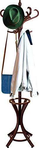 Headbourne 8000 Floor Standing Hat and Coat Rack with Umbrella Stand, Wood with Dark Walnut Paint Finish by Headbourne (Image #1)