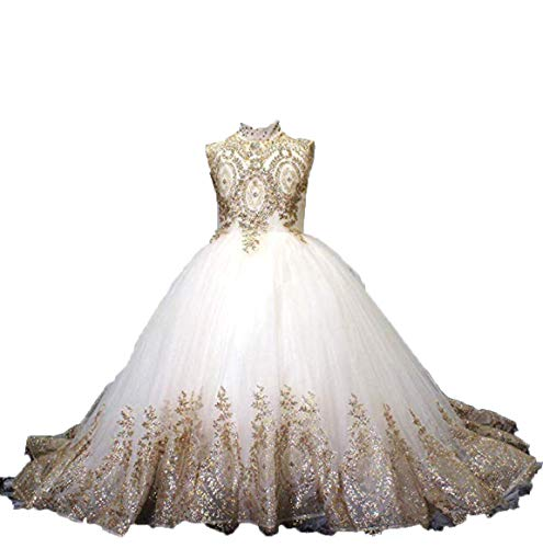 gsunmmw Gold Lace Flower Girl Dresses for Wedding Beaded Pageant Ball Gown First Communion Dress for Girls GS098