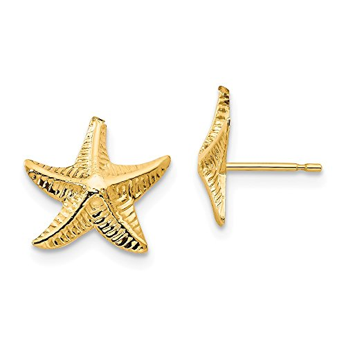 14K Yellow Gold Madi K Starfish Post Earrings Solid 11 mm 11 mm Button Earrings Jewelry