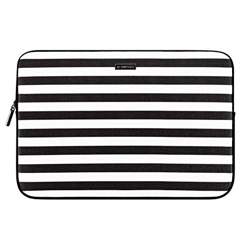 Comfyable Laptop Sleeve for 13-13.3 Inch MacBook Pro & MacBook Air- Waterproof Cover Notebook Computer Case for Mac PU Leather Black White Stripe