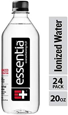 Essentia Water; 20-oz. Bottles; Case of 24; Ionized Alkaline Bottled Water; Electrolyte Infused for Smooth Taste; pH 9.5 or Higher; 99.9-Percent Pure, Overachieving H2O for the Doers and Believers