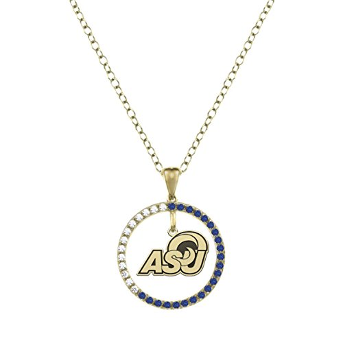Angelo State University Rams Sapphire and Diamond Charm Necklace - 14KT Gold by College Jewelry