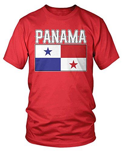 (Amdesco Men's Panama Flag, Love Home Flag of Panama T-Shirt, Red 2XL)