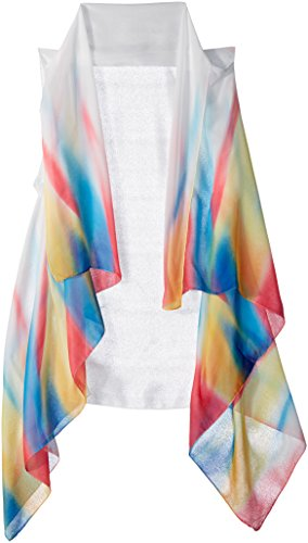 Lavello Sheer Designer Vest, White/Rainbow Color, One Size from Lavello