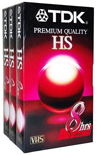 (3 Pk - TDK Premium Quality HS 8 Hour T-160 Blank VHS Cassette Tapes)
